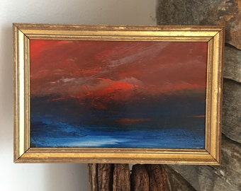 Red Sky- Framed- Small Painting - Original Painting- 5-1/2 x 8-1/2 approx. inch - including Frame -  Collectible - Fine Art