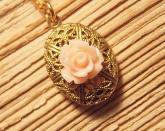 Gold and Peach Locket Necklace