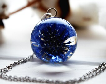 Terrarium necklace Real flower necklace Terrarium jewelry Real jewelry flower Flower resin necklace Secret world Gift for women Womens gift