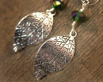 Silver spring leaves, green swarovski crystal handmade earrings