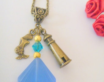 Blue Sea Glass Shell Pendant Bronze Necklace with Lighthouse and Mermaid Charms