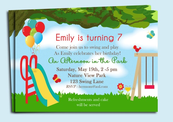Park playground birthday invitation printable or printed with filmwisefo Gallery