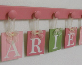 Wood Name Sign - Nursery Name Sign - Baby Name Sign - Children's Name Sign - Name Sign - Wall Word Name Sign - Pinks and Light Green