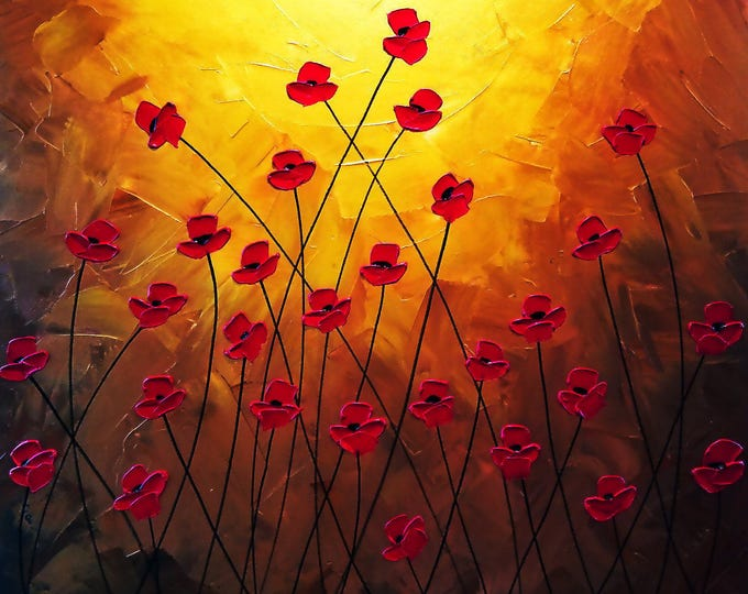 Metallic Impasto Poppy Painting Gold Flowers with Palette Knife and Brush LARGE Canvas 36x36