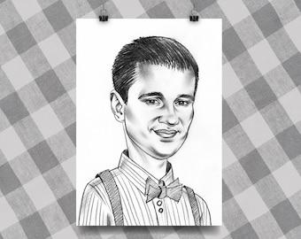 Black & White Caricature 1 Person, caricature, portrait gift, gift for mens, caricature online, pencil caricature