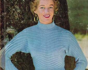 Vintage Women's Knitting Pattern - 1950s polo neck sweater pattern  - 50s pullover instant download PDF -