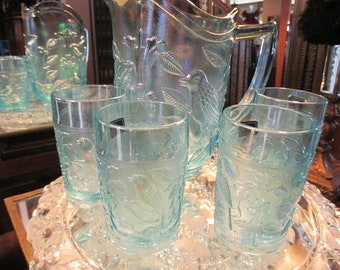 Vintage Water Set Ice Blue Imperial Glass Pitcher & 4 Tumblers Birds and Flowers #E70
