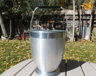 Kromex Ice Bucket,  Silver and Black Colored Aluminum Ice Bucket, Atomic Age Look