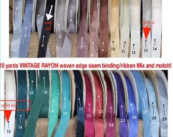 Rayonne de bord Vintage tissé serré HUG ruban, reliure, mélange de couture et correspondent à 10 verges, craquant ruban, ruban d'emballage