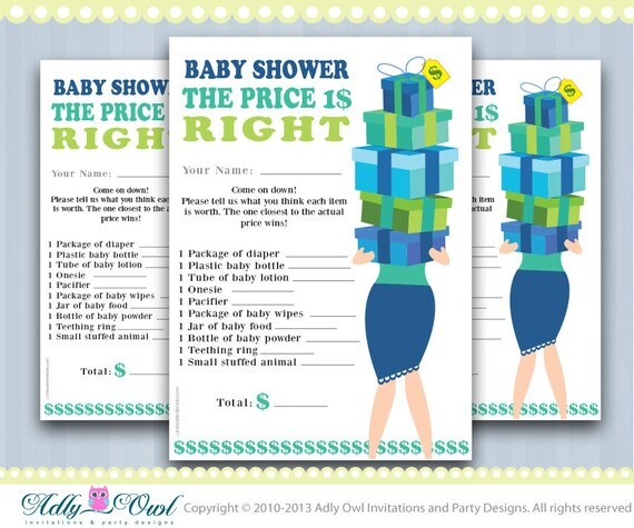 Price Is Right Baby Boy Shower Game Printable Fun Baby Shower