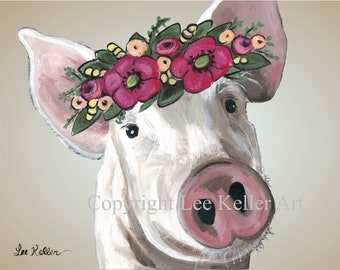 Pig Art Print Instant Download, Pig Flower Crown Art digital download, Pig Art Print Digital