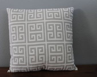 geometric gray throw pillow