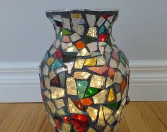 Rustic lamp - mosaic art home decor - upcycled art - mosaic art - repurpose - vase - mosaic vase home decor - mosaic gift - rustic home art