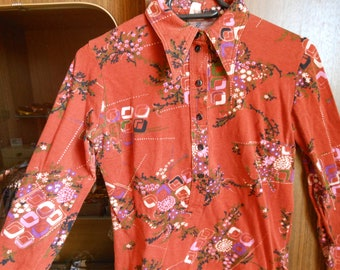 1970s patterned blouse