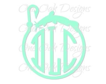 Fish Hook Catfish Circle Monogram Frame Cut File SVG Vector PDF DXF for Cameo Silhouette Studio Software V2 V3 Vinyl decal, Die Cut