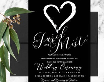 Black & White Heart Wedding Invitation