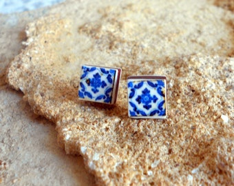 Stud Post Earrings Portugal Blue Antique Azulejo Tile Replica  - Ovar (see photo of actual facade) Stainless Steel - Gift Box Included -
