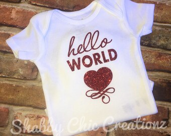 Newborn baby Hello World onesie personalized girls name shirt baby shower gift