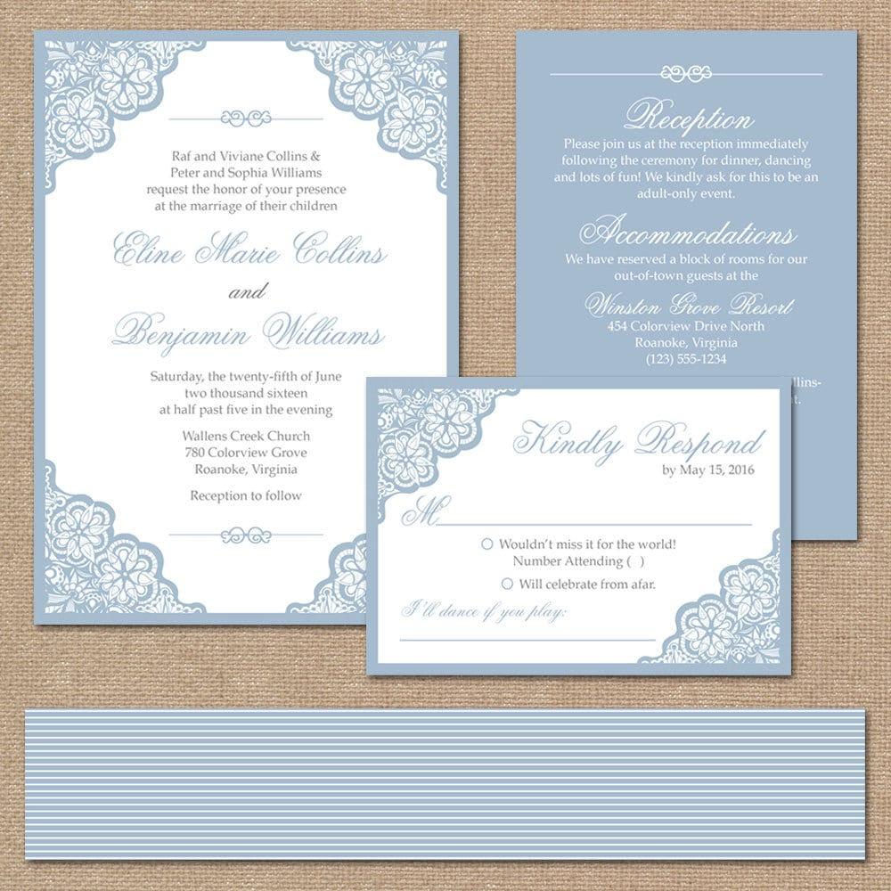 Elegant Lace Wedding Invitation Suite Square Invitation //