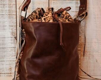 Bucket bag, large leather bucket, Brown shoulder bag, fringe leather bag, leaopard bag