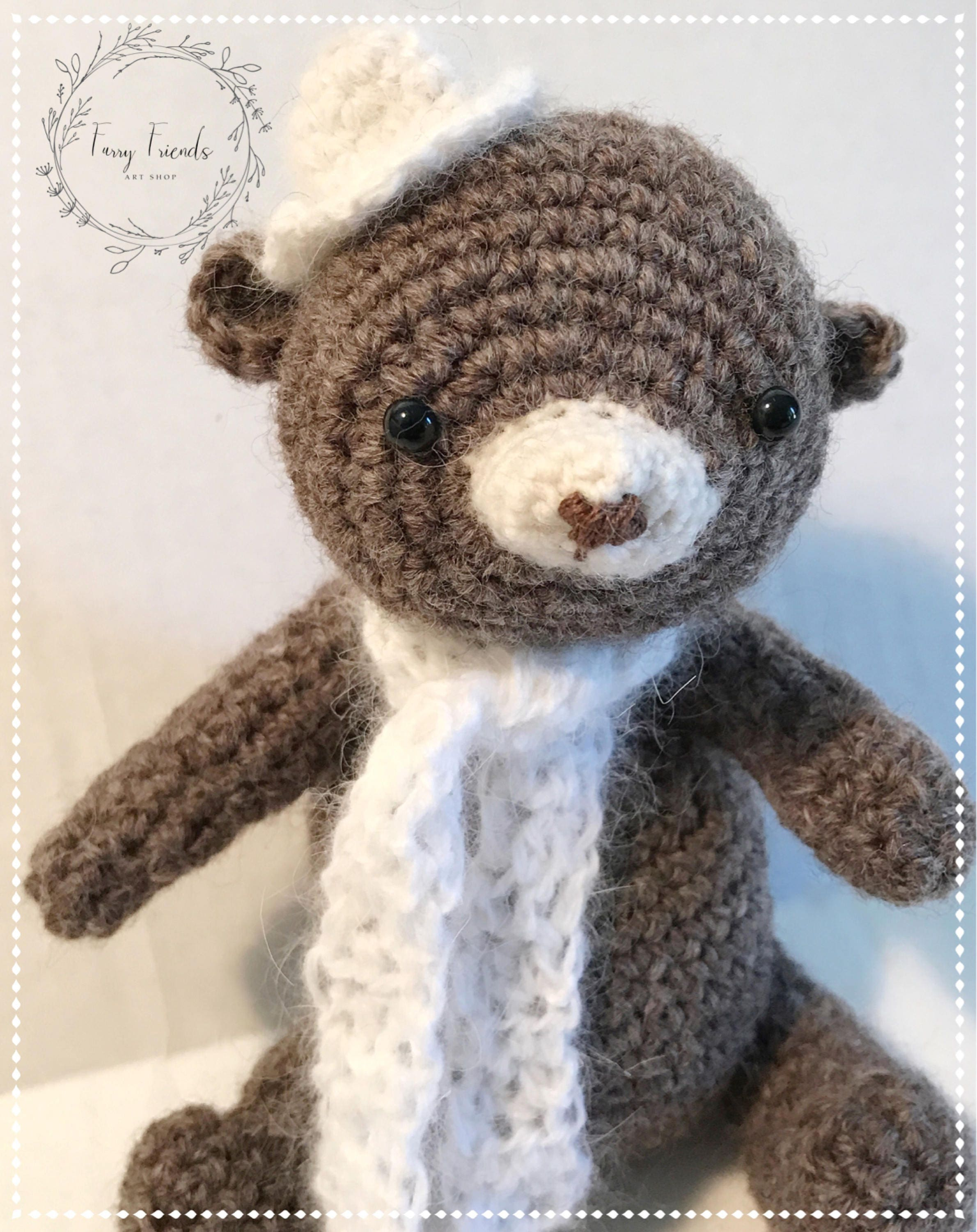 Teddy Bear Crocheted Stuffed Animal With White Angora Hat and Scarf