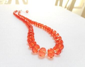 Hyacinth Graduated Czech Glass Necklace, Sterling Silver Necklace, Red Orange Glass Beaded Necklace, Czech Fire Polished Glass Jewelry