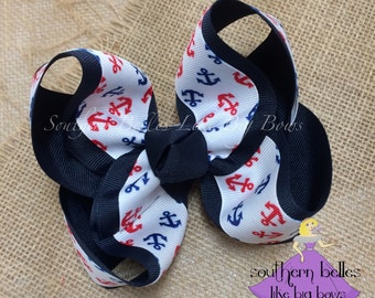 Anchor Boutique Bow - Large, Navy Anchor Bow, Red Anchor Bow, Big Anchor Bow, Big Hairbow with Anchor, Gift for Anchor Lover, Girls Gift