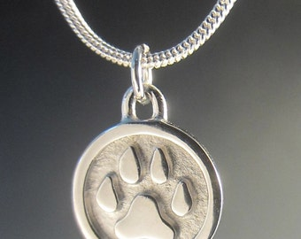 Engravable Small Silver Paw Necklace