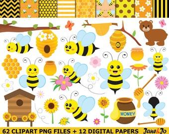 62 Bee Clipart , bees Clipart, Honey bees clip art , Bee cliparts , honeycomb,bee hive clipart,honey clipart,bee digital paper,bee image