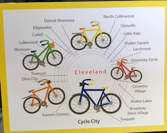 Cleveland bicycle cards, bicycle cards, cycle Cleveland blank note card, cyclists