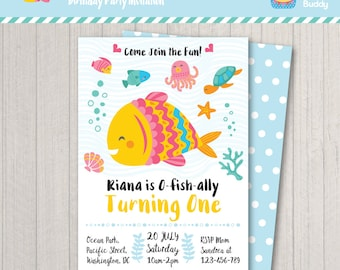 Rainbow fish invite Etsy