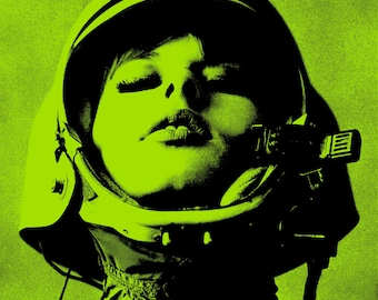 Vintage photo 1960s mod astronaut girl woman wearing helmet pop art poster pop art print pop art photograph helmet PRINT