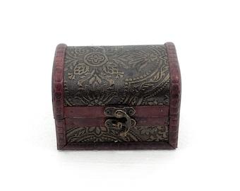Vintage Wooden Storage Trinket Jewelry For Box Chest Decorative Treasure Case