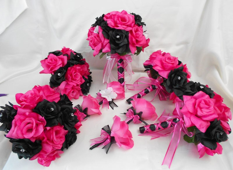 Wedding bridal bouquets your colors 18 pcs package fuchsia hot zoom mightylinksfo