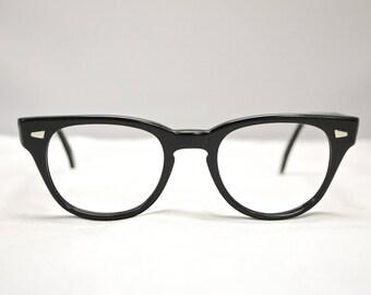 Vintage 1950's PATHWAY Horn Rim Eyeglasses / Jet Black / Retro Collectable Rare