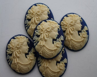 5 Unset Lady Cameos - Ivory on Navy - 30x40mm - Victorian Gothic Edwardian