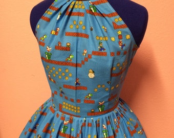 Vintage Style Super Mario Game Platform Nintendo Dress