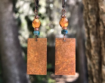 Turquoise Earrings, Copper Earrings, Orange Earrings, Boho Earrings, Bohemian Earrings, Rustic Earrings, Patina Earrings, Gypsy Earrings