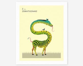 Z is for ZEBRATTLESNAKE (Giclée Fine Art Print/Photo Print/Poster Print) by Jazzberry Blue