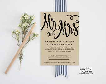 Engagement Party Invitation Template | Editable Invitation Printable | Engagement Party Invite Kraft | No. PW 5330