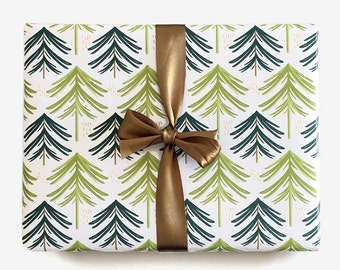 Evergreen Forest Gift Wrap / Single Sheet or Roll / Green Whimsical Modern Bold Woodland Tree Wrapping Paper Christmas Holiday