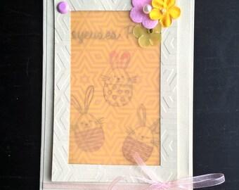 handmade Easter vellum window card with matching envelope