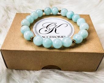 Blue Jade bracelet natural Gemstone 10mm