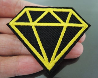 Diamond Patches - Iron on Patches or Sewing on Patch Yellow Black Patches Embroidered Patch Diamonds Embellishment