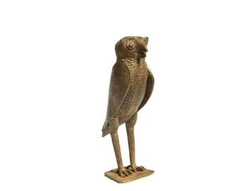 Large Owl Vintage African Bronze Sculpture