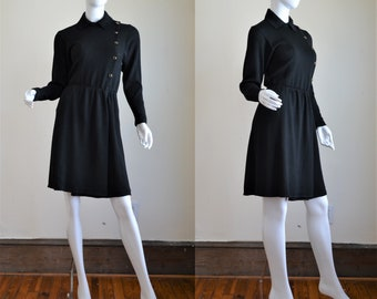 Vintage St. John Marie Gray Black Knit Military Style Dress
