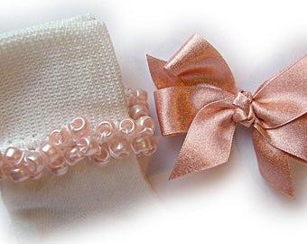 Kathy's Beaded Socks - Shimmery Rose Beaded Socks and Hairbow, girls socks, school socks, pony bead socks, rose socks