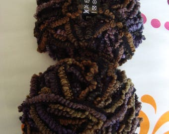 Yarn 100g wool skyline from LANAS STOP curly brown, Plum, Black - 10/12 needles