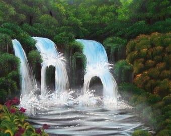 "Jungle Blue Falls - Original, Oil Painting on Canvas, 16"" x 20"""