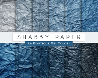Blue Shabby digital papers, Crinkled backgrounds, scrapbook paper printables. Instant Download for Personal and Commercial Use